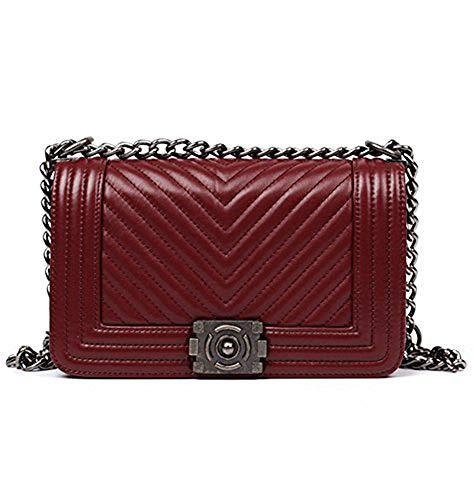 (Ainifeel Women's Genuine Leather Quilted Chain Strap Handbags Hobo Bag Crossbody (Large, Claret (gunmetal hardware)))