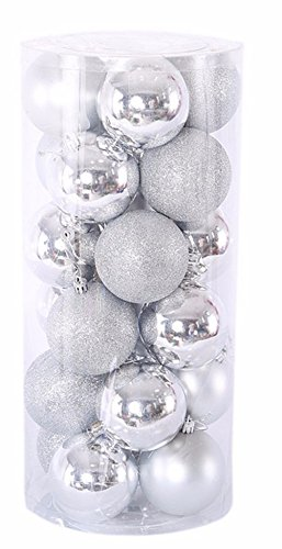 Christmas Decorations Ball Ornaments Exquisite Colorful Balls Decorations Pendant Pack of 24pcs (Silver Lake Halloween 2017)