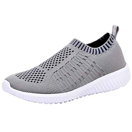 LANCROP Women's Comfortable Walking Shoes - Lightweight Mesh Slip On Athletic Sneakers 9 M US Grey ()