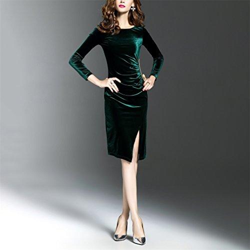 Honghu Damen Elegant Langarm Kleid Rundhals Taille Knielang Split ...
