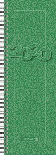 BRUNNEN 107820150 Tischkalender/Vormerkbuch Modell 782 (1 Seite = 1 Woche, 10,0 x 29,7 cm, Karton-Umschlag, Kalendarium 2020, Wire-O-Bindung) grün