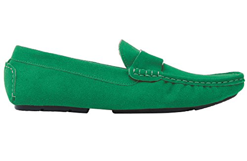 Slip Plats Vert Loisirs Noir Santimon Chaussure Loafers Mocassin on Homme Cuir Suede Daim wW4aXq