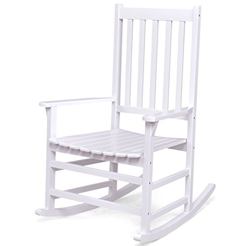 Giantex Rocking Chair Solid Wood Rocker Indoor Outdoor Porch Patio Furniture (White) (Slat Rocking Chair Wood)