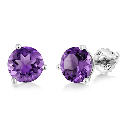 Gem Stone King 14K White Gold 2.40 Ct Round 7mm Purple Amethyst 3-Prong Martini Stud - Prong Martini Studs 3