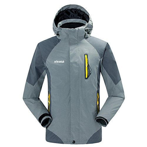 公平な弱まる二Lanbaosi ハードシェル ジャケット メンズ アウトドアジャケット 登山アノラック 防風 防水 通気 登山服 スキーウェア インナー コート2枚セット取り外し可能 男性