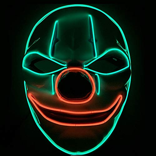 TECHLINK Horror Party Mask Light up Purge Mask LED Cold Light Mask Creepy Glowing Masks Masquerade Party Creative Style Scary Cosplay -