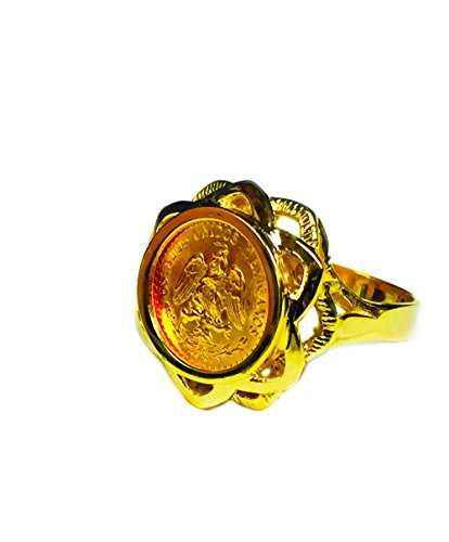 - 14K Yellow Gold Ladies 18 Mm Coin Ring with a 22K Mexican Dos Pesos Coin-Random Year Coin
