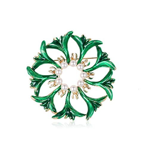 Creative Enamel Green Flower Brooch Pins Simulated Pearl Brooches for Women Hijab Scarf Clip Jewelry
