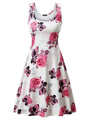 - FENSACE Women's Sleeveless Midi Dress Casual Flared Tank Dress