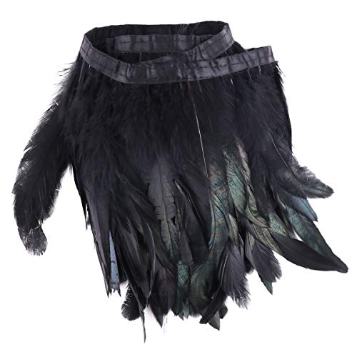 CHICTRY Black Rooster Hackle Feather Fringe Trim DIY Sewing Crafts Feather Cape Stole Collar Skirt Costume Decoration 5.5 Yards