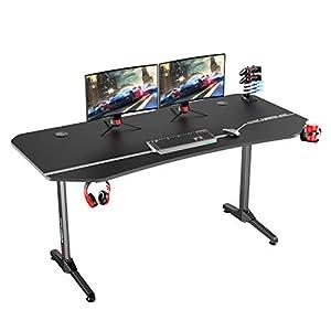 DlandHome Bureau de Jeu Pro 160 CM avec Tapis de Souris Complet & Gaming Rack/Chargeur à USB, Table de Gaming Station de…