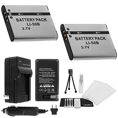 LI-50B Battery 2-Pack Bundle with Rapid Travel Charger and UltraPro Accessory Kit for Select Olympus Cameras Including Stylus Tough 6000, Stylus Tough 6020, Stylus Tough 8000, and Stylus Tough 8010