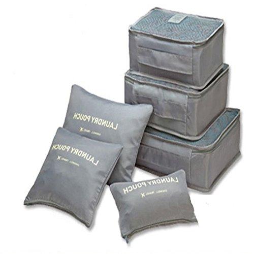IPLUS Reisetaschen-Set 6-teilig Kofferorganizer in Koffer Wäschebeutel Schuhbeutel Kosmetik Aufbewahrungstasche,Grau