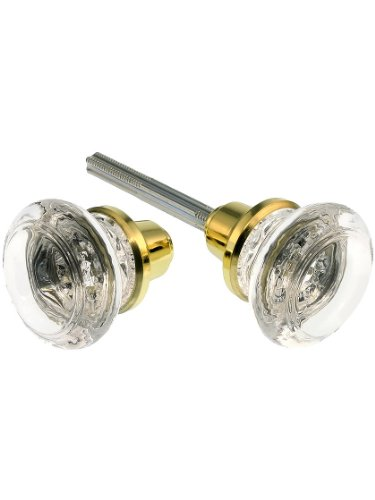 - Pair of Round Glass Door Knobs with Brass-Plated Zinc Base
