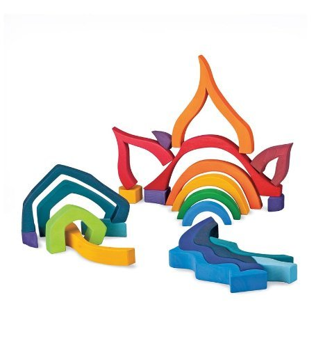 Grimm's Large Four Elements Building Set, Wooden Blocks with Storage Tray