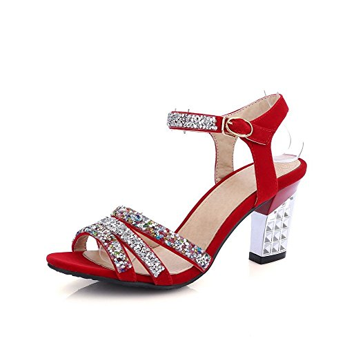 AllhqFashion Women's Buckle Open Toe High Heels PU Assorted Color Sandals Red
