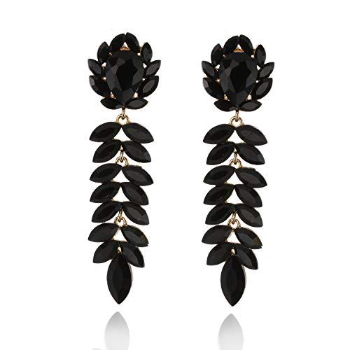 (Floral Leaf Drop Crystal Dangle Women's Statement Earrings in Black)