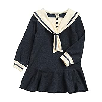 Xifamniy Newborn Girls Autumn&Spring Skirt Trendy Navy Style Cotton Dress Spring Casual Outfit