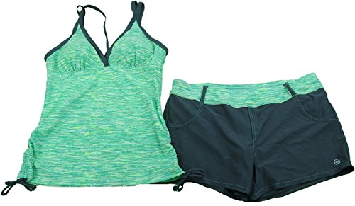 Free Country Ladies Size Large Tankini Top & Short Swimwear Set Seafoam/Grey