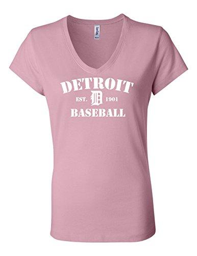 (Detroit Baseball 6005 Womens Premium V-Neck T-Shirt Humorous T Pink Medium)