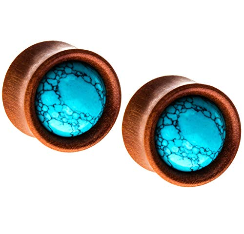 (Pierced Owl Natural Turquoise Stone Sawo Wood Double Flared Plugs, Sold as a Pair (12.7mm (1/2