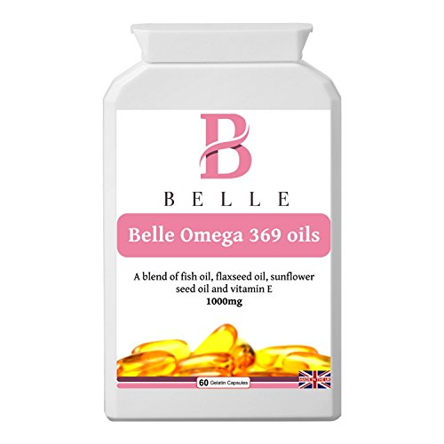 Belle® Omega 3 6 9 oils 1000mg supplement - High Strength Softgels - Essential Fatty Acids - plus vitamin E- Best Selling Pills - Manufactured In The UK - 60 Gelatin capsules