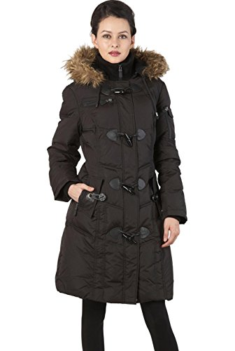 BGSD Women's Water Resistant Quilted Down Toggle Coat - Black (Goose Down Winter Coat)