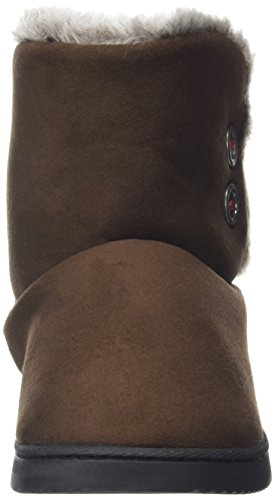 Marrone Pantofole Donna 00205 Memory Boot Dearfoams Two with Button Foam Espresso WSFHAw1q