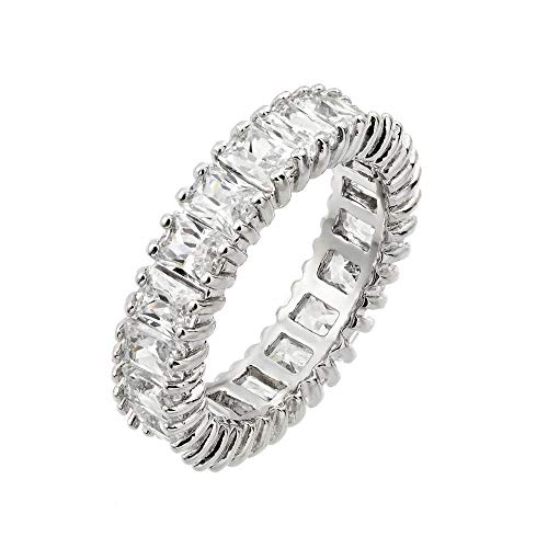 Y Sterling Silver Ladies Eternity Band Ring w/ 3mm x 4mm Baguette Cut CZ Stones (5) ()