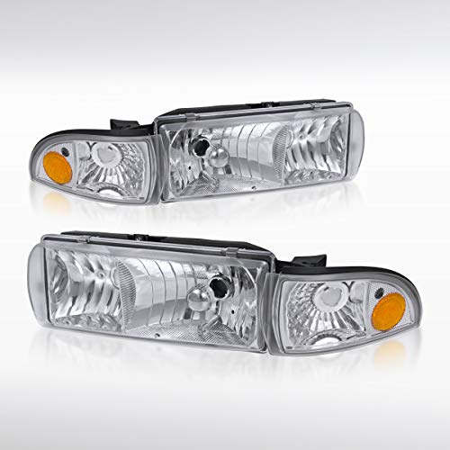 Autozensation For Chevy Caprice/Impala Chrome Clear Headlights+Corner Signal Lamps 4PC