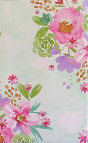 Summer Floral Watercolor Vinyl Flannel Back Tablecloth (52