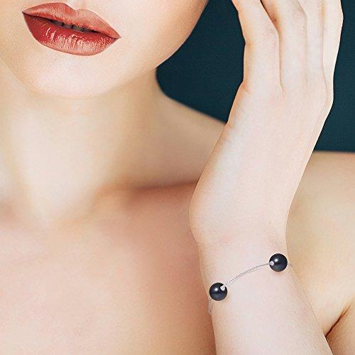 Pearls & Colors - Bracelet chaîne - Or blanc 9 cts - Perle d'eau douce - 18 cm - AM-9BFC 112 3R9-ARB-BL