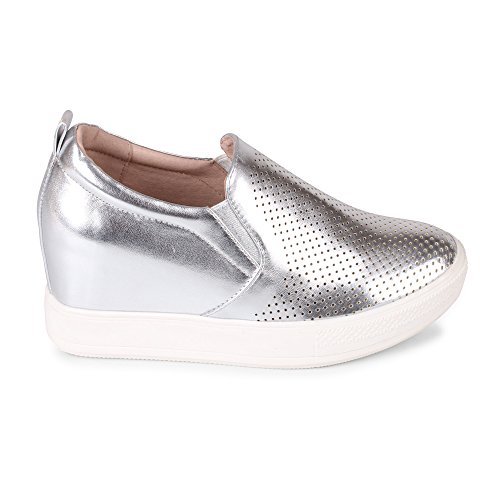 Wanted Slip Sneaker Fashion On Wedge Cascade Silver ZAwgfpq