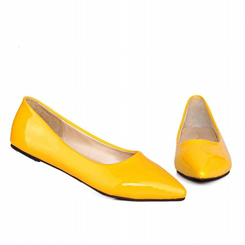 Mee Shoes Women's Charm Pointed Toe Slip On Court Shoes Yellow wC47txc027