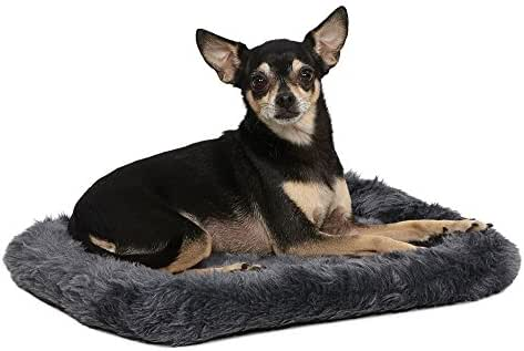 18L-Inch Gray Dog Bed or Cat Bed w/ Comfortable Bolster | Ideal for