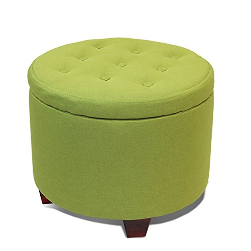 Magshion OTTO Poly-GRN Button Tufted Accent Storage Ottoman Lift Top Footstool Green, Round
