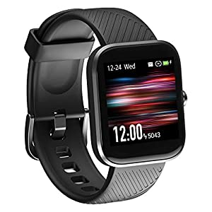 Virmee Smart Watch, Fitness Tracker for Android Phones iOS Phones, Heart Rate Monitor, Blood Oxygen Meter, Sleep Tracking, IP68 Waterproof, Step Calorie Counter for Men Women, Black