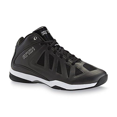 And1 Mens BACKLASH MID Black/Black/White Basketball Shoes (10 M, Black)