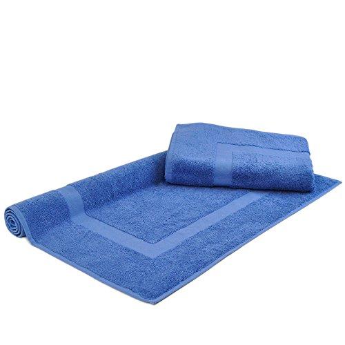 Turkish Cotton Luxury Hotel & Spa Bath Mat (Set of 2) (Large Bath Mat - Set of 2, Wedgewood)