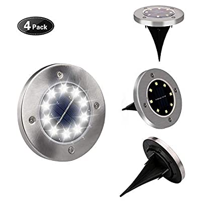 Solar Ground Lights,SONSY Upgraded in-Ground Waterproof Solar Lights Outdoor with 8 LED for Walkway Patio Yard Driveway Flowerbed Lawn Garden Pathway Underground Lighting(4 Pack)