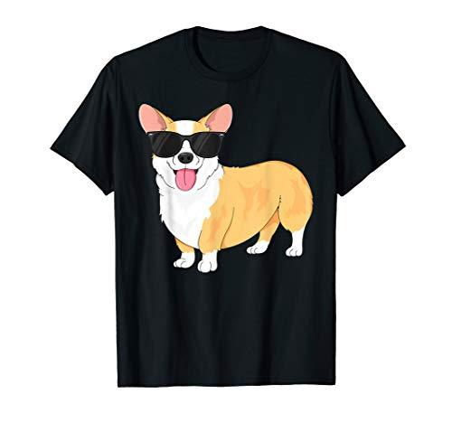 Vintage Cool Corgi T-Shirt for Boys Kids Dog Sunglasses T-Shirt