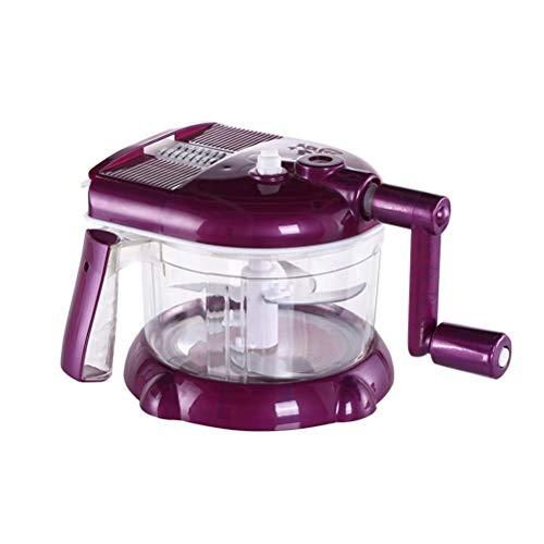 (HOMEMAXS Food Processor Manual Hand-powered Crank Chopper Mincer Blender Mixer Cutter for Baby Kids Toddler to Chop Meat Fruits Vegetables (Purple))