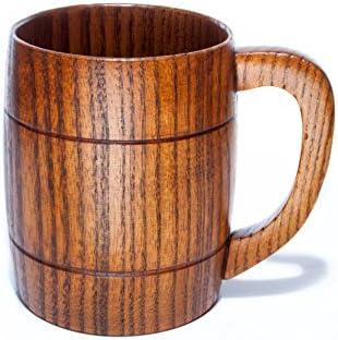 Taza de cerveza, 350 ml, hecha a mano, respetuosa con el medio ambiente, tazas de madera con asa para vino/café/té, el mejor regalo para hombres/mujeres