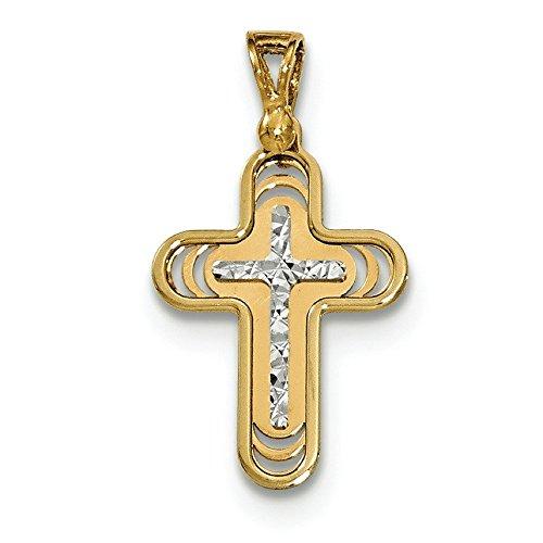 Or bicolore 14carats poli et diamant pendentif croix