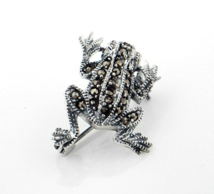 Sterling Silver Marcasite Frog Lapel Pin or Brooch Sterling Silver Marcasite Pin Brooch
