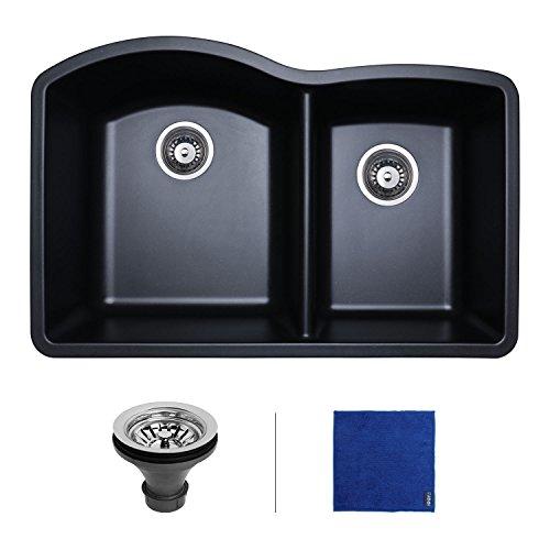Two Undermount Kit Installation (Enbol GDS-3221 32 Inch Double Bowl Undermount Quartz Granite Composite Kitchen Sink, Black)