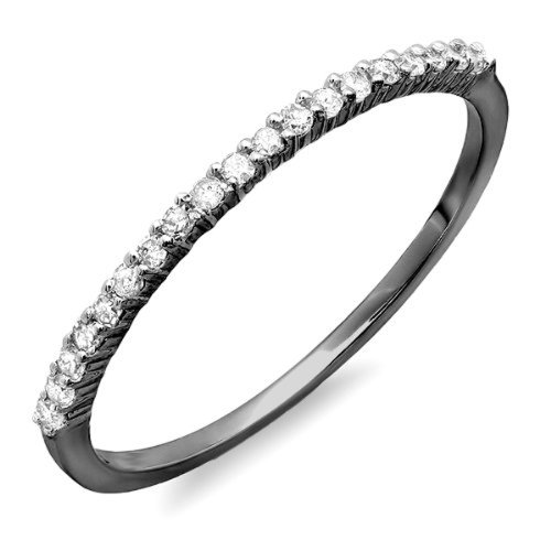 - Dazzlingrock Collection 0.15 Carat (ctw) Black Rhodium Plated 10k Round Diamond Anniversary Stackable Ring, White Gold, Size 9