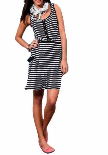 Vila Clothes Mujer de vestido vestido multicolor negro-blanco