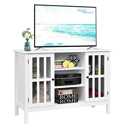 Wood TV Stand Storage Classic Durable Console Table Free Standing Entertainment Center Solid Home Wooden TV Cabinet Holds Up To A 45