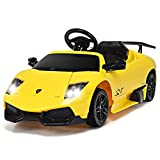 Costzon Licensed Lamborghini Kids Ride On Car, 12V Rechargeable Battery Powered Electric Car w/ Remote Control LED Lights Sounds Music (Yellow)